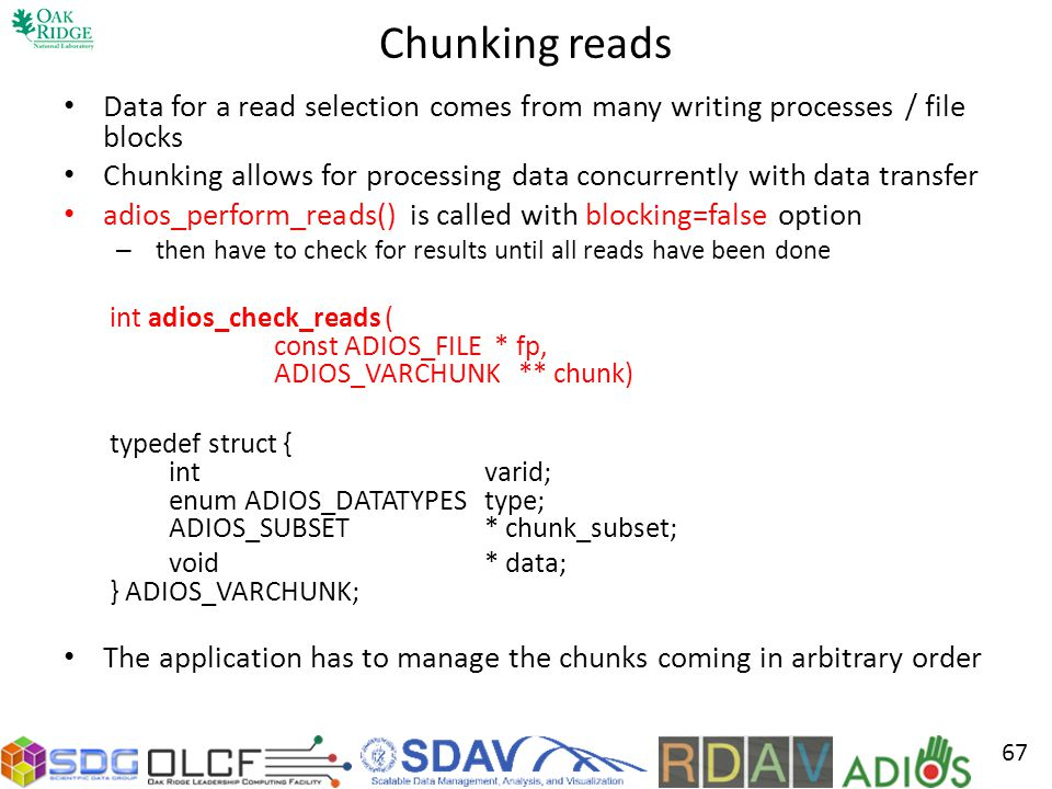 Chunking reads Data for a read selection comes from many writing processes / file blocks.