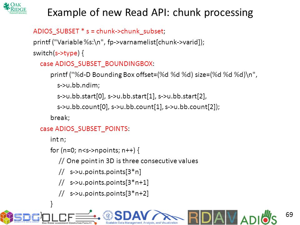 Example of new Read API: chunk processing