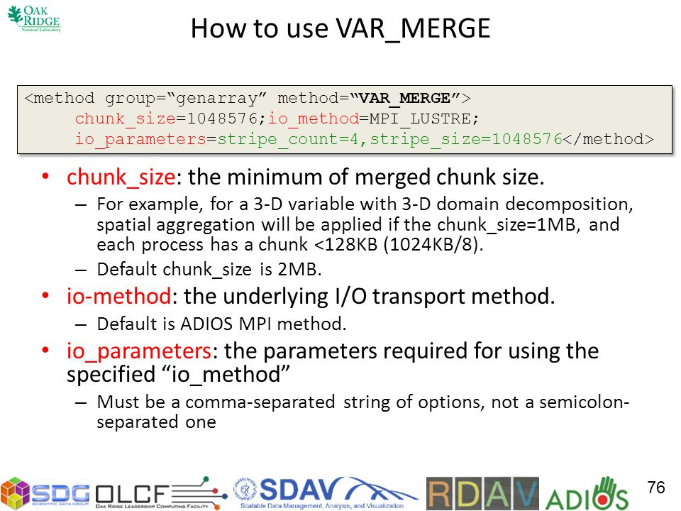 How to use VAR_MERGE chunk_size: the minimum of merged chunk size.