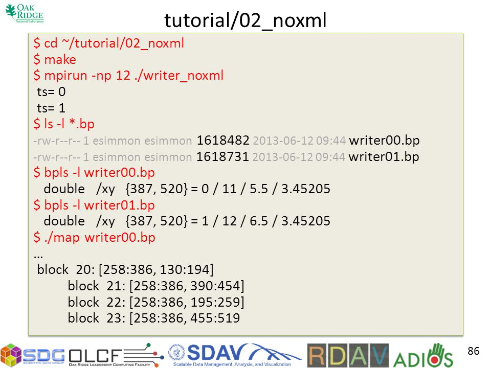 tutorial/02_noxml $ cd ~/tutorial/02_noxml $ make