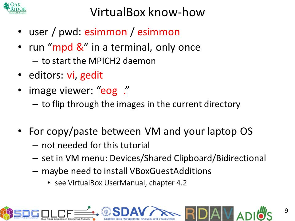 VirtualBox know-how user / pwd: esimmon / esimmon