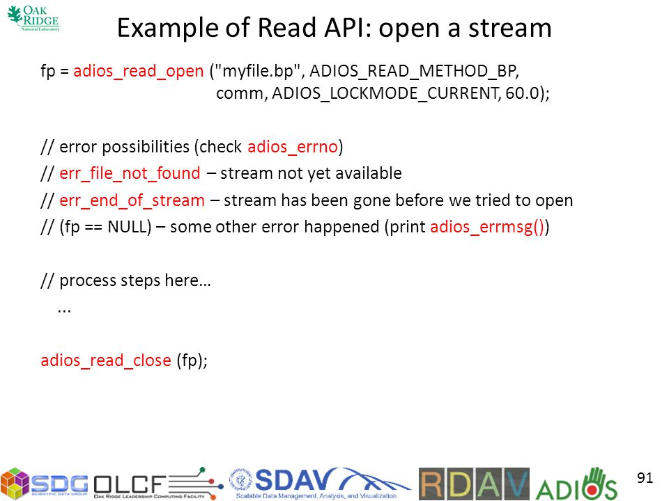 Example of Read API: open a stream