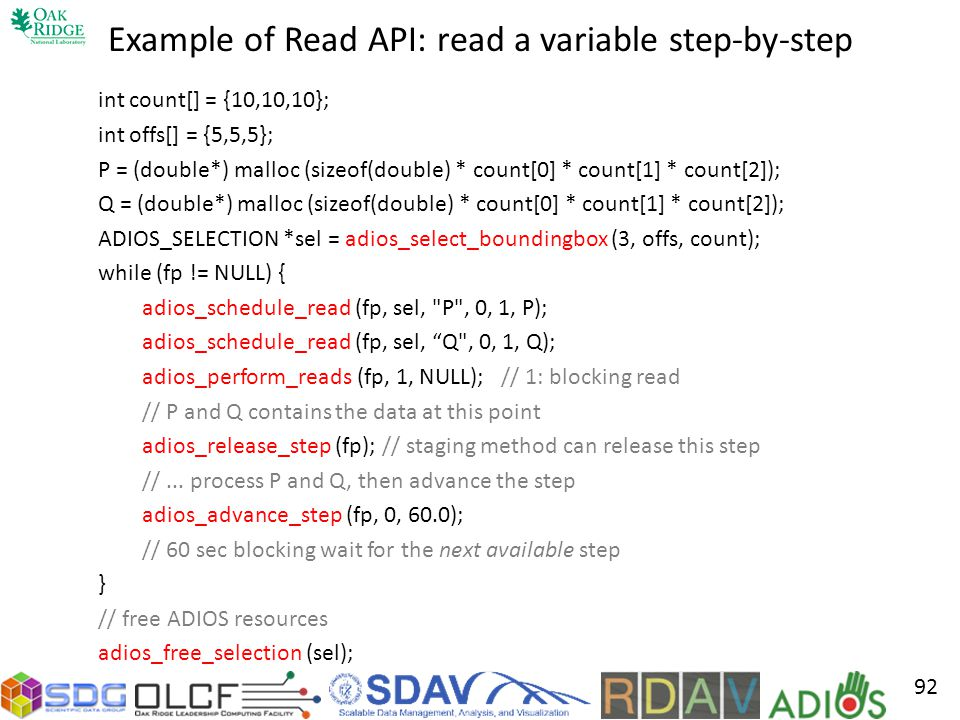 Example of Read API: read a variable step-by-step