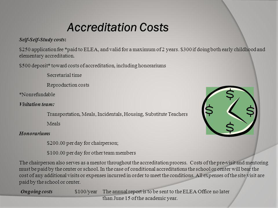 Accreditation Costs Self-Self-Study costs: