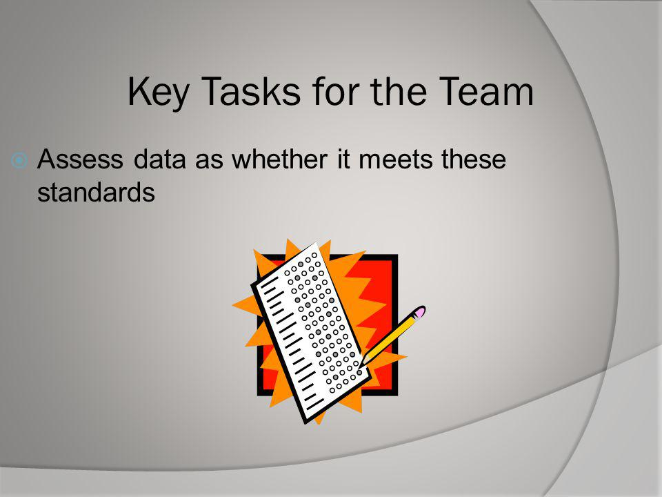 Key Tasks for the Team Assess data as whether it meets these standards