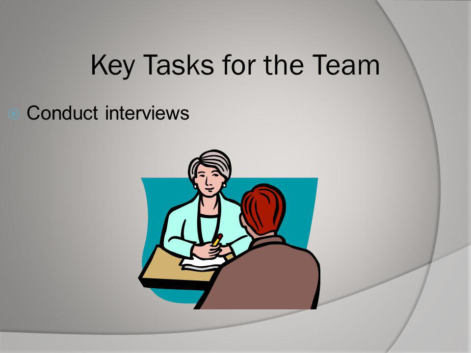 Key Tasks for the Team Conduct interviews