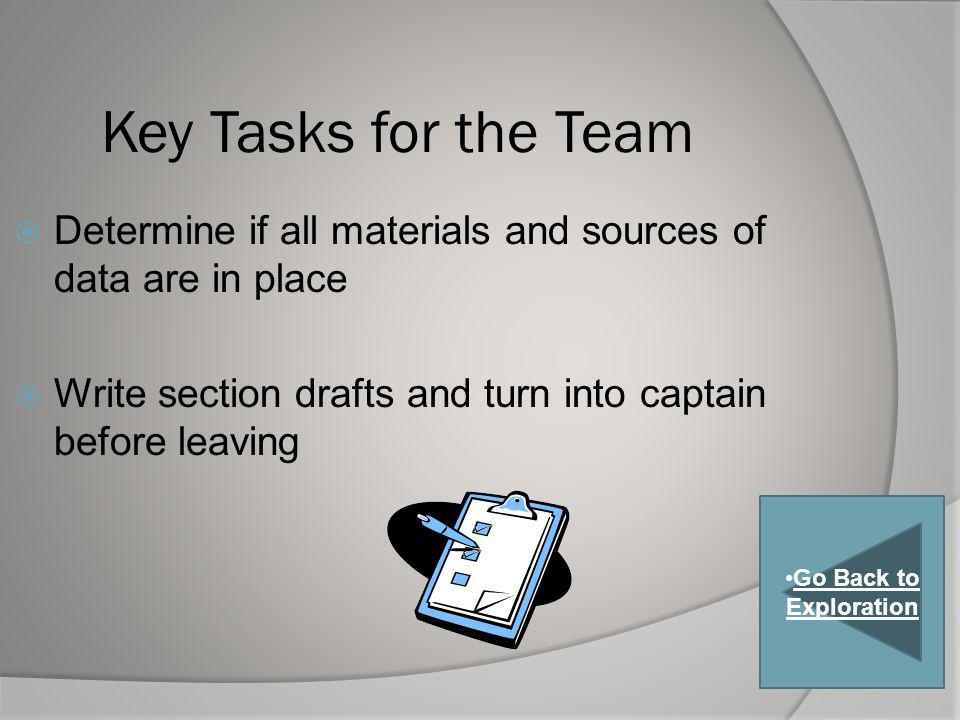 Key Tasks for the Team Determine if all materials and sources of data are in place. Write section drafts and turn into captain before leaving.