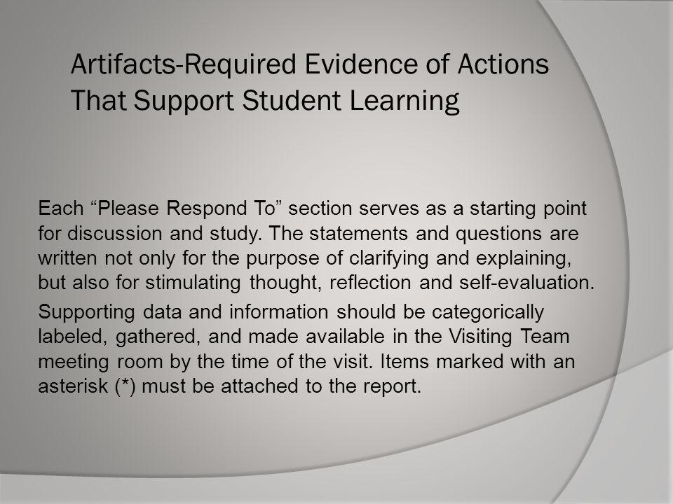 Artifacts-Required Evidence of Actions That Support Student Learning