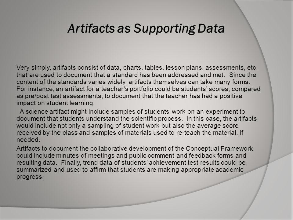 Artifacts as Supporting Data