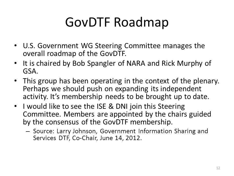 GovDTF Roadmap U.S. Government WG Steering Committee manages the overall roadmap of the GovDTF.