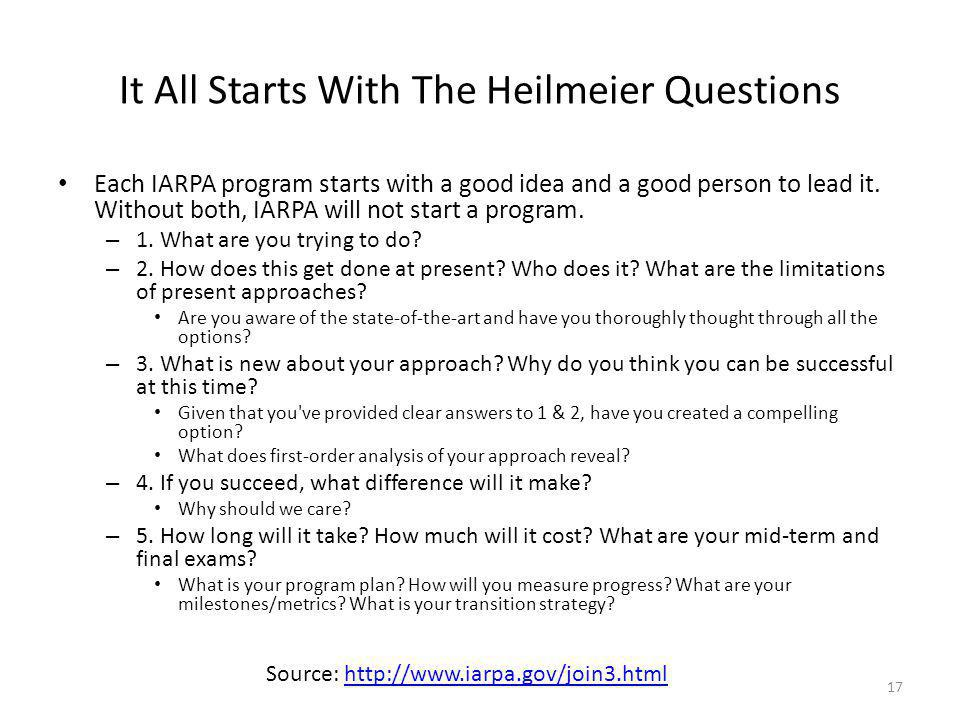 It All Starts With The Heilmeier Questions