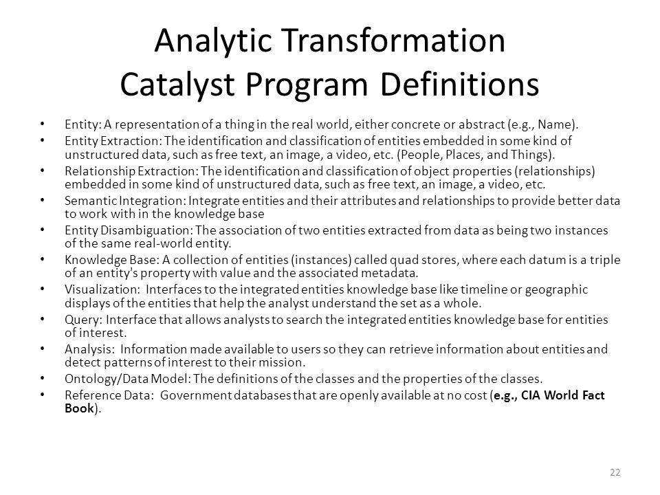Analytic Transformation Catalyst Program Definitions