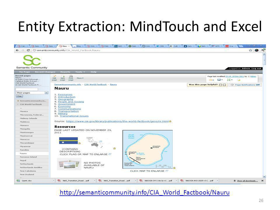 Entity Extraction: MindTouch and Excel