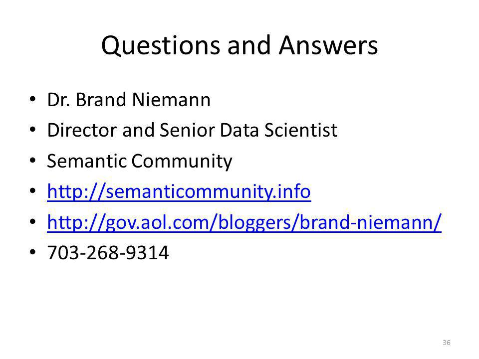Questions and Answers Dr. Brand Niemann