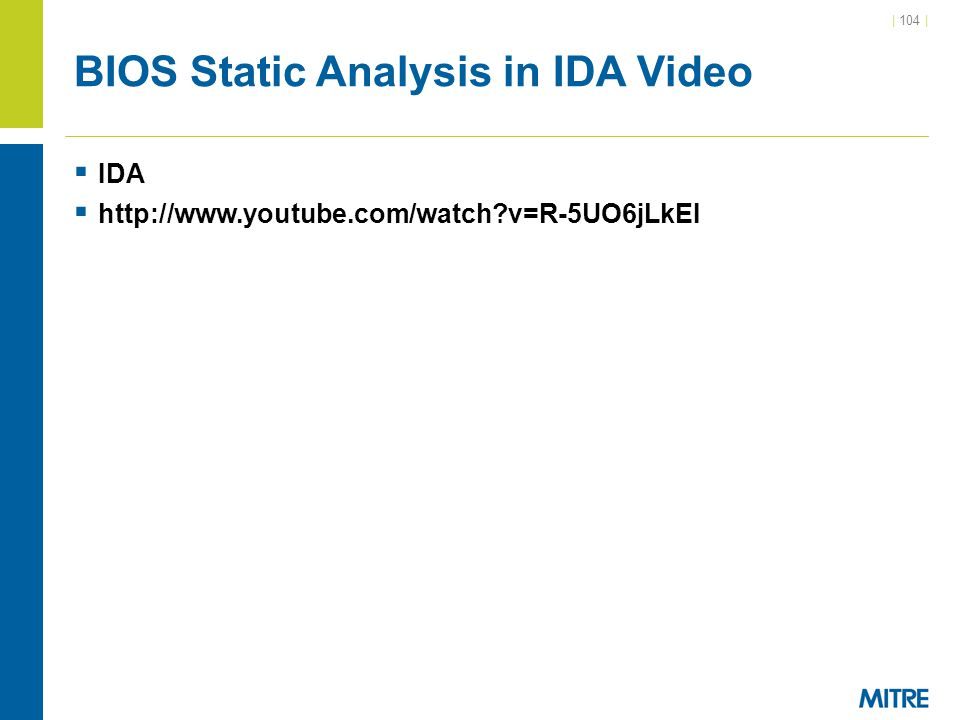 BIOS Static Analysis in IDA Video