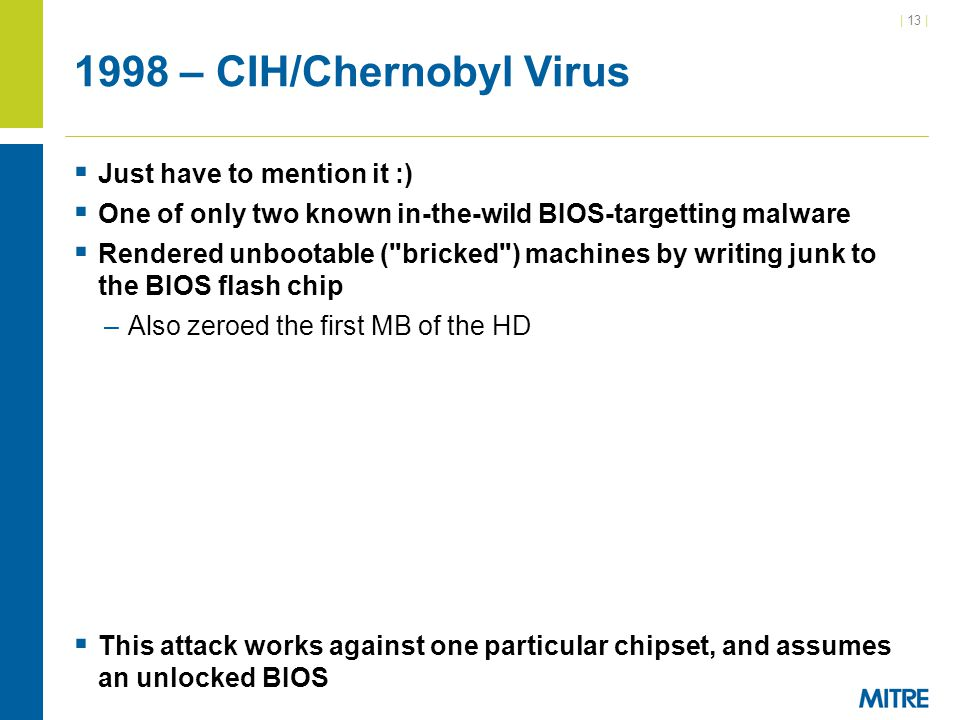 1998 – CIH/Chernobyl Virus Just have to mention it :)