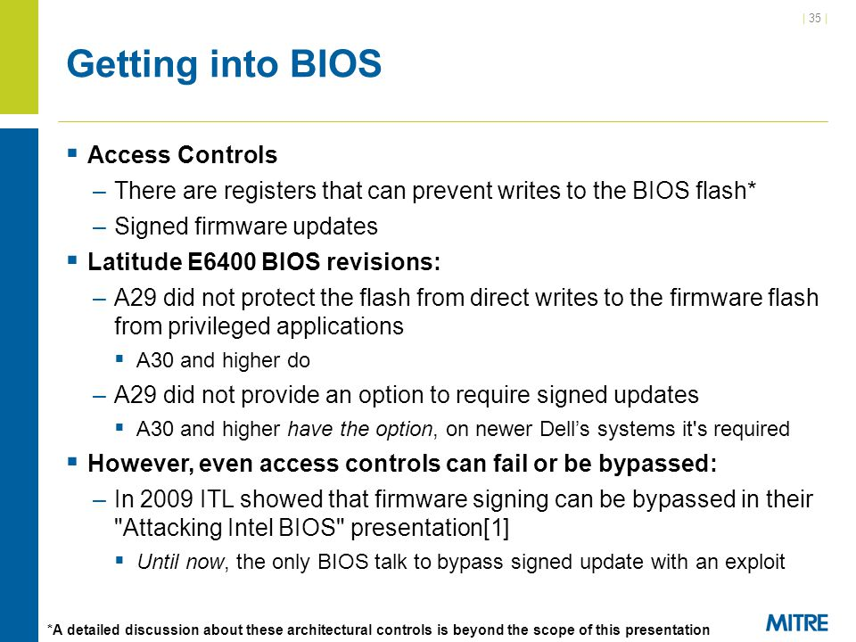 Getting into BIOS Access Controls