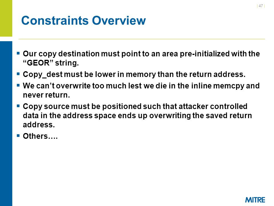 Constraints Overview Our copy destination must point to an area pre-initialized with the GEOR string.