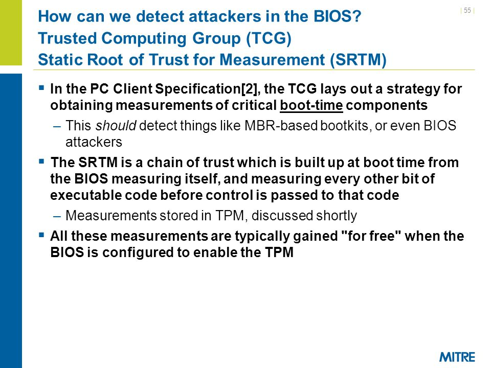 How can we detect attackers in the BIOS