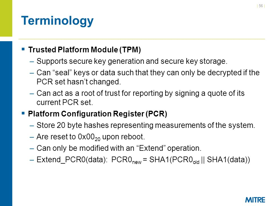 Terminology Trusted Platform Module (TPM)
