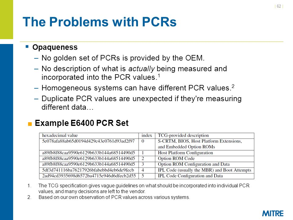 The Problems with PCRs Example E6400 PCR Set Opaqueness