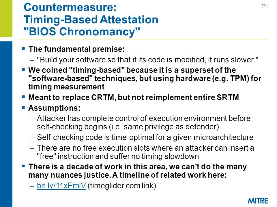 Countermeasure: Timing-Based Attestation BIOS Chronomancy