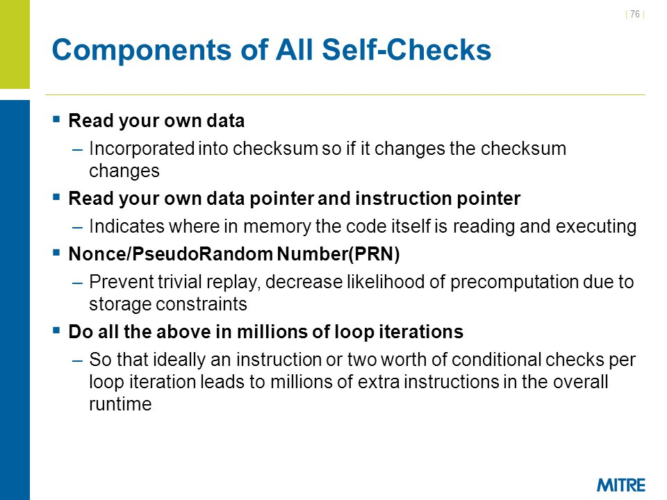 Components of All Self-Checks