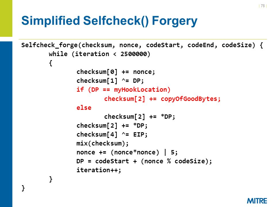 Simplified Selfcheck() Forgery
