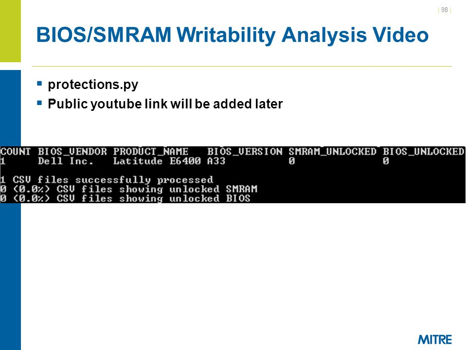 BIOS/SMRAM Writability Analysis Video