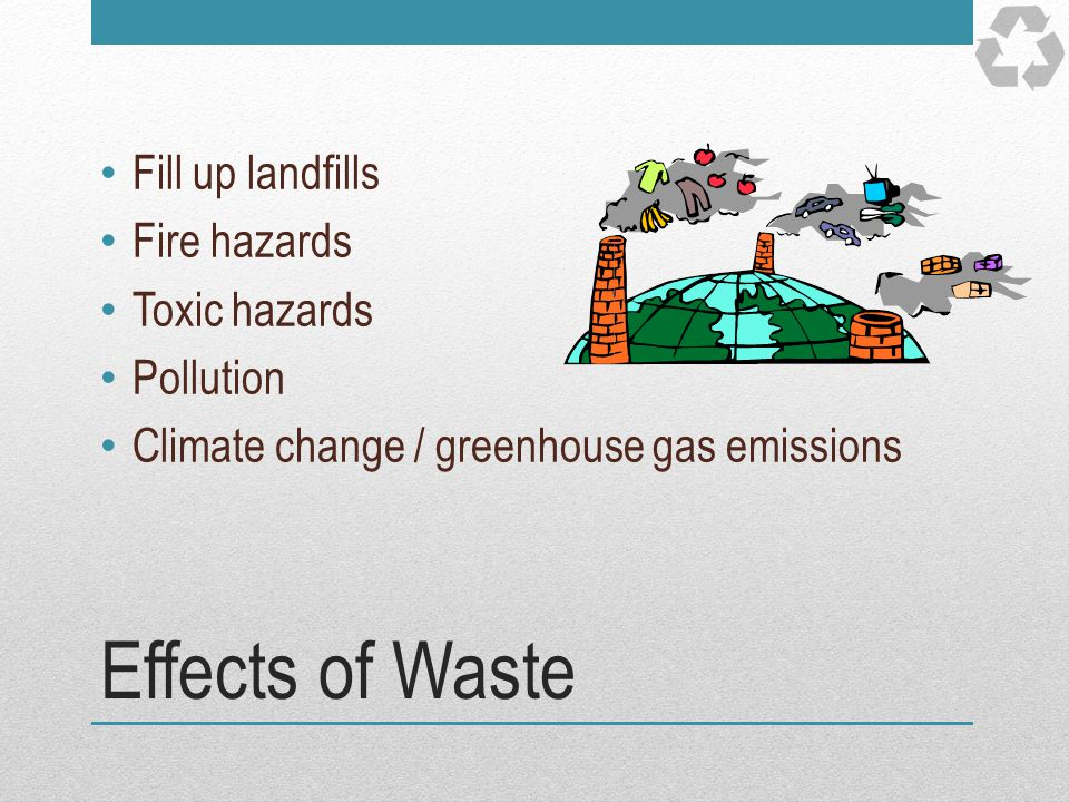 Effects of Waste Fill up landfills Fire hazards Toxic hazards