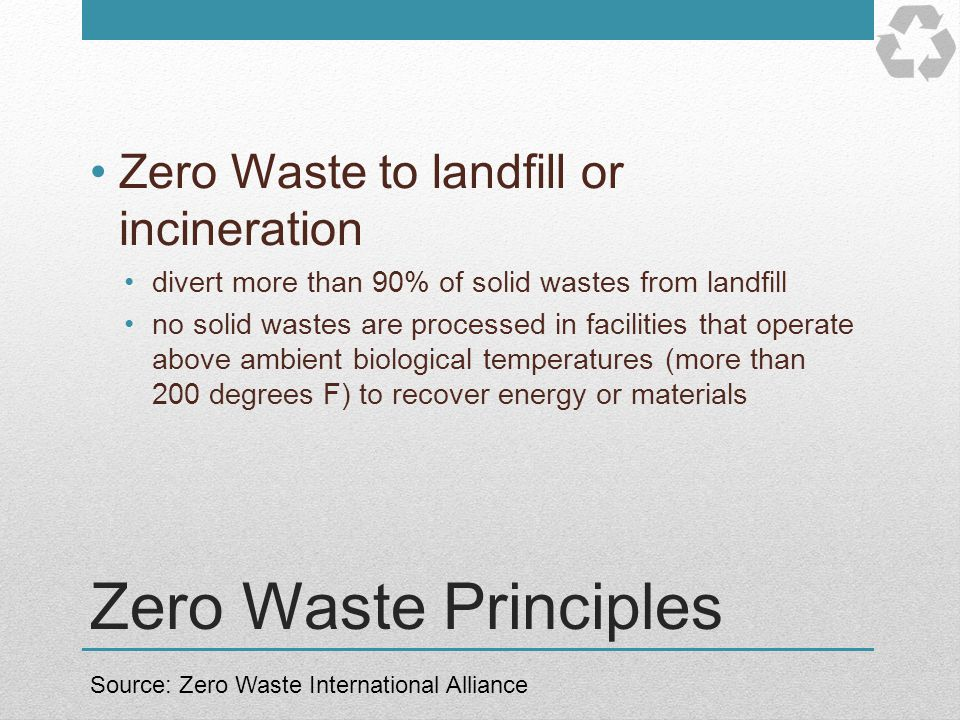 Zero Waste Principles Zero Waste to landfill or incineration