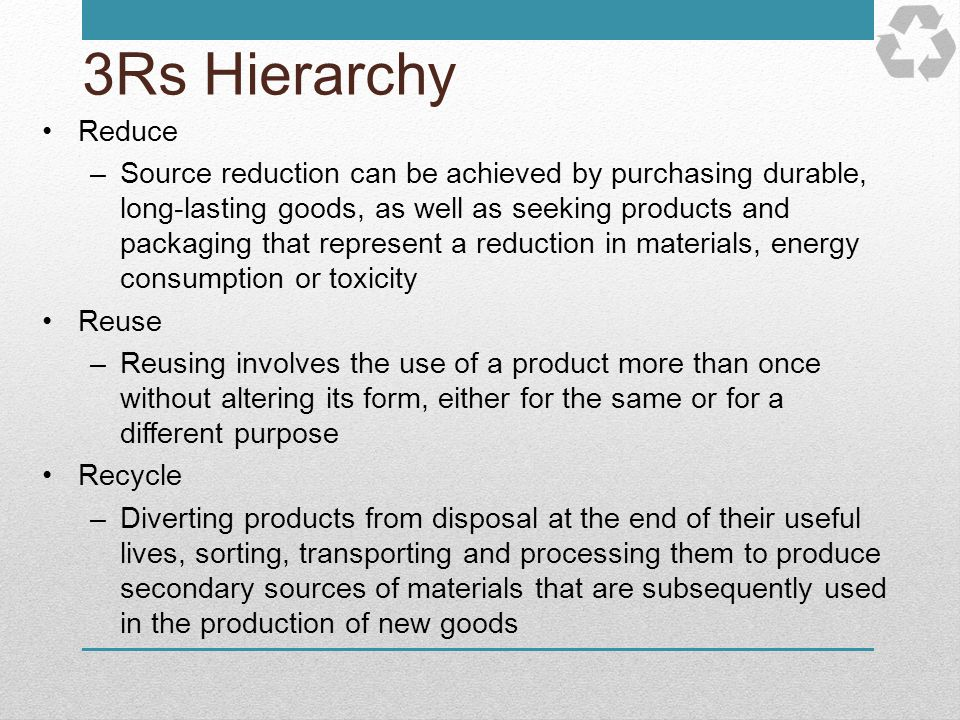 3Rs Hierarchy Reduce.
