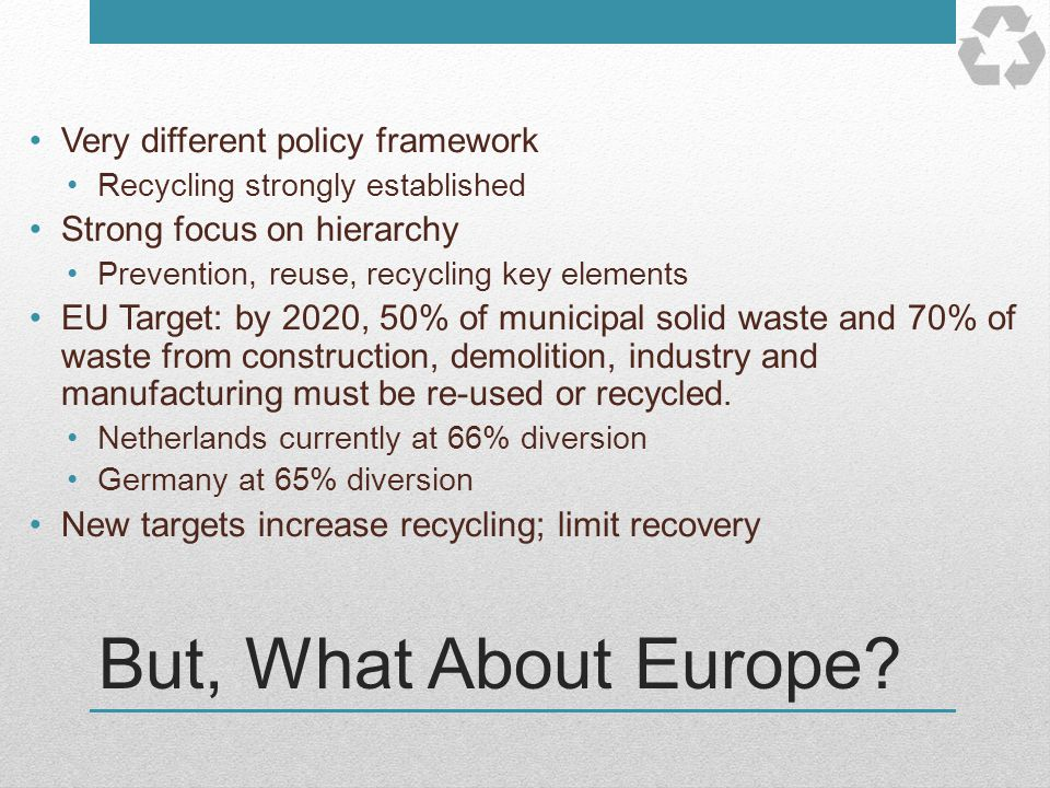 But, What About Europe Very different policy framework