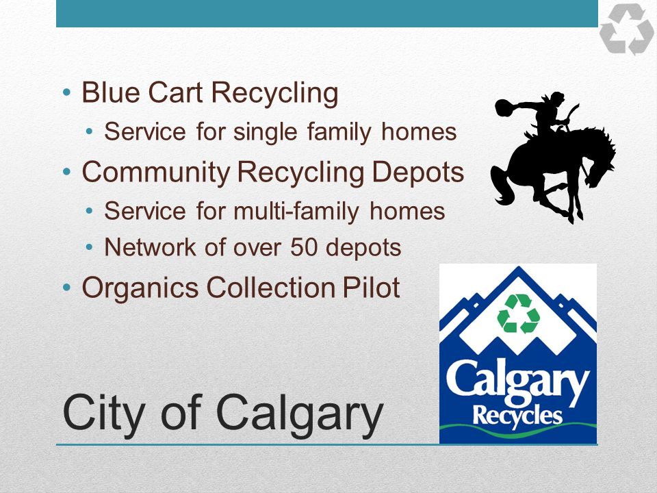 City of Calgary Blue Cart Recycling Community Recycling Depots