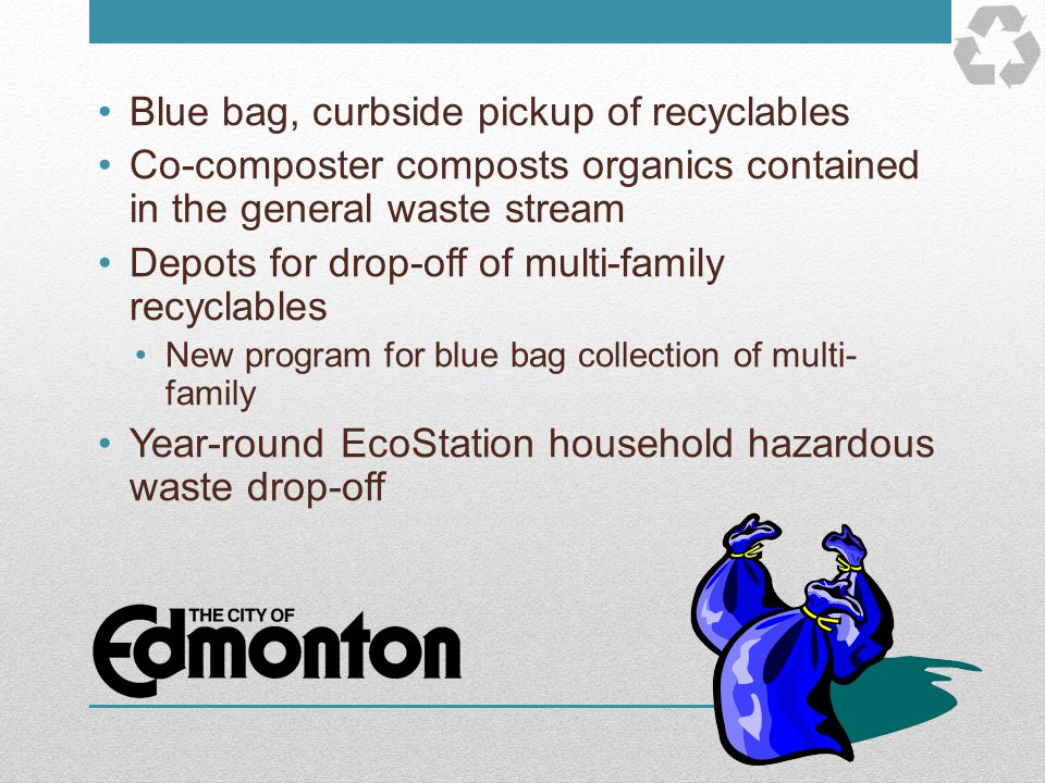 Blue bag, curbside pickup of recyclables