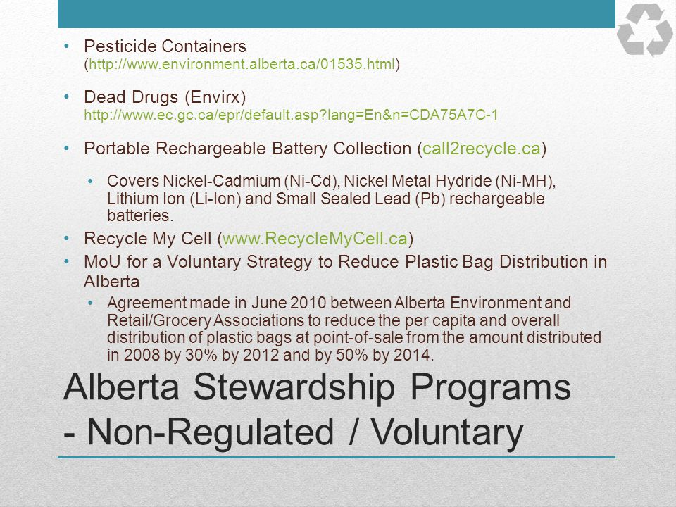 Alberta Stewardship Programs - Non-Regulated / Voluntary