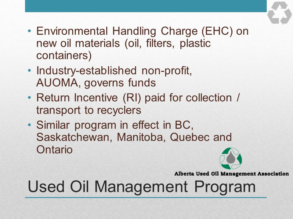 Used Oil Management Program