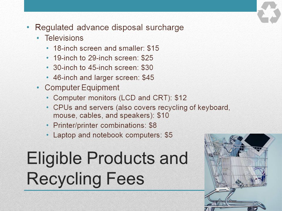 Eligible Products and Recycling Fees