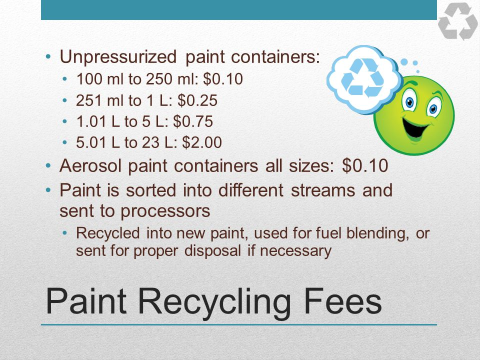 Paint Recycling Fees Unpressurized paint containers: