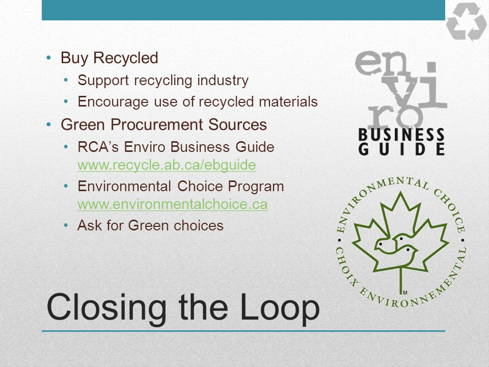 Closing the Loop Buy Recycled Green Procurement Sources