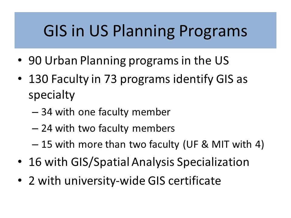 GIS in US Planning Programs