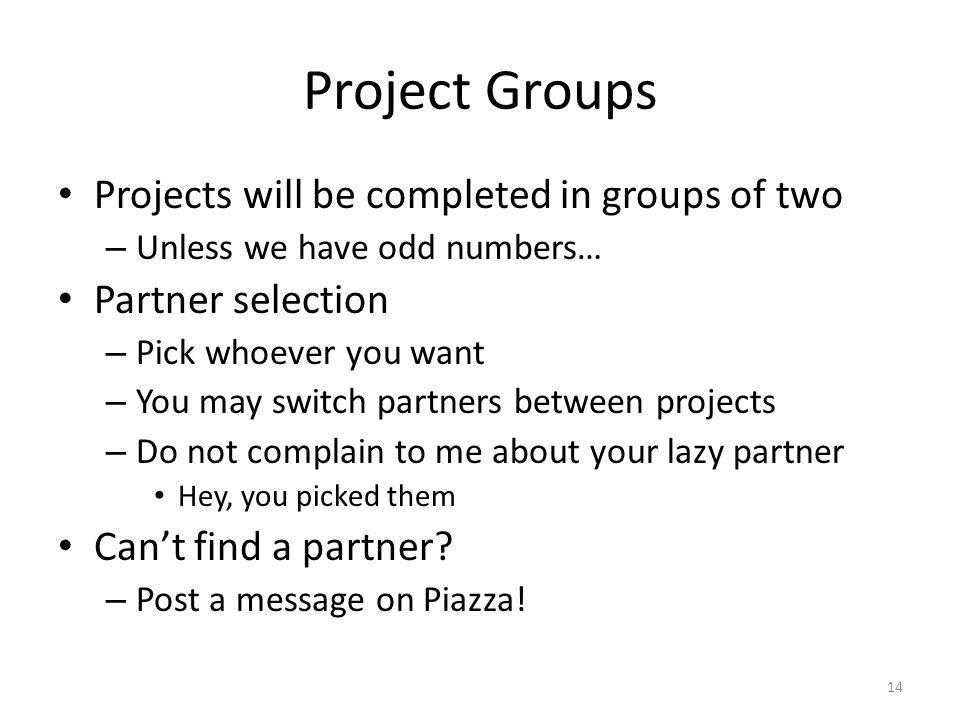 Project Groups Projects will be completed in groups of two