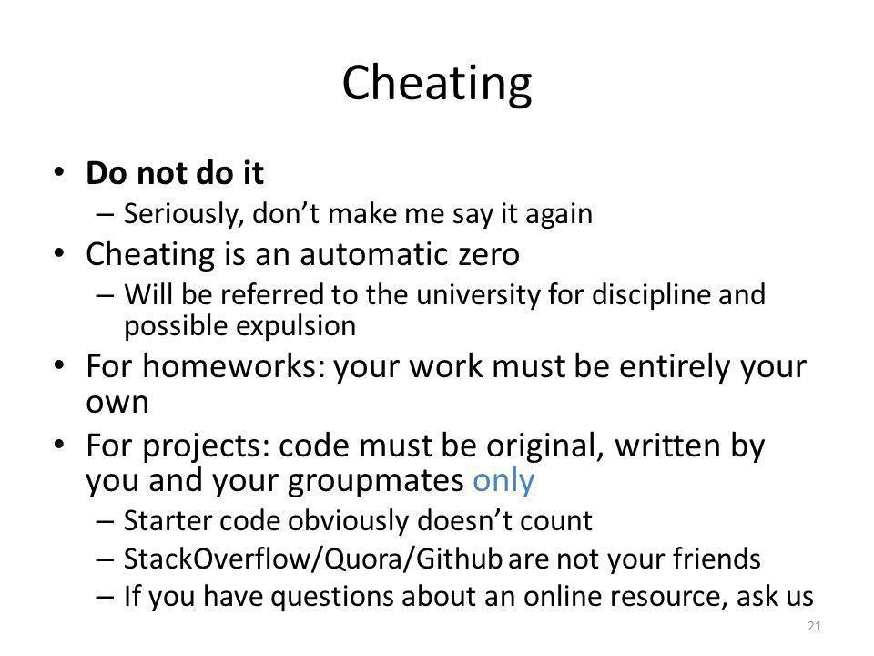 Cheating Do not do it Cheating is an automatic zero