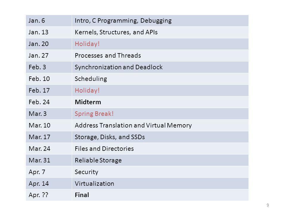 Intro, C Programming, Debugging Jan. 13 Kernels, Structures, and APIs