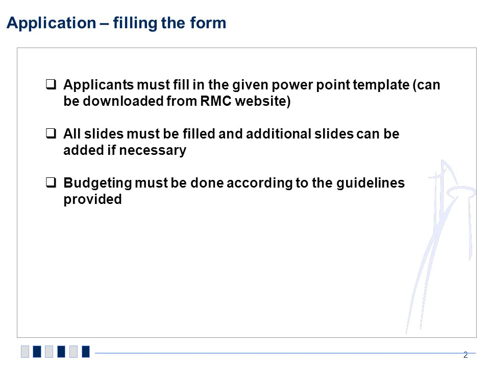 Application – financial guidelines (1/2)