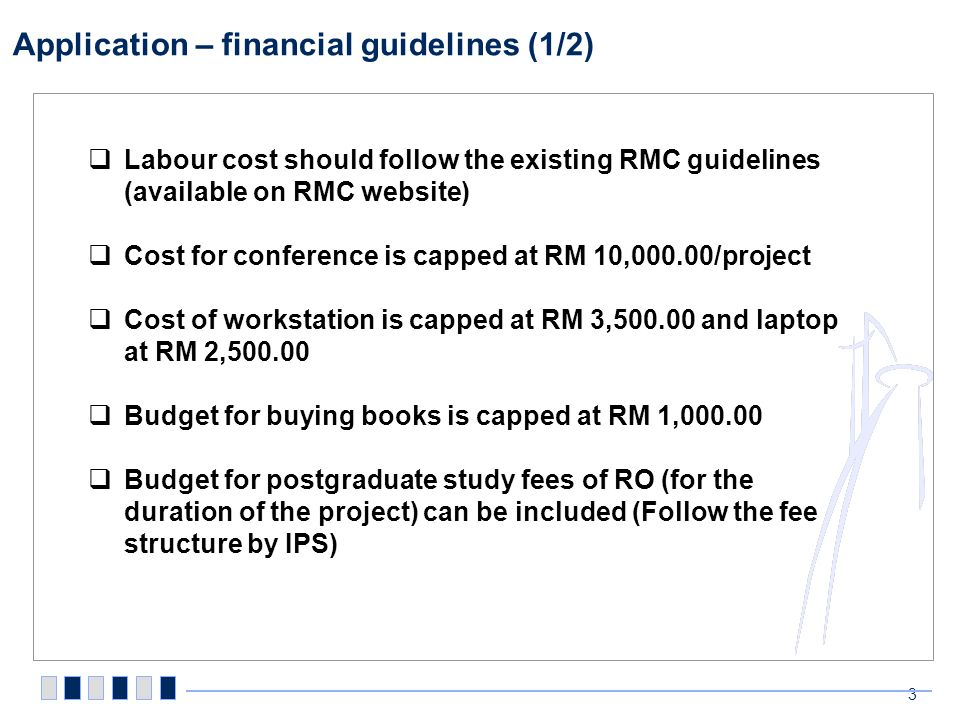 Application – financial guidelines (2/2)
