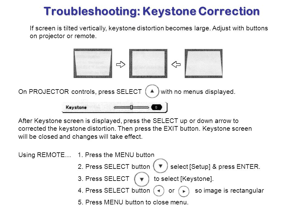 Troubleshooting: Keystone Correction