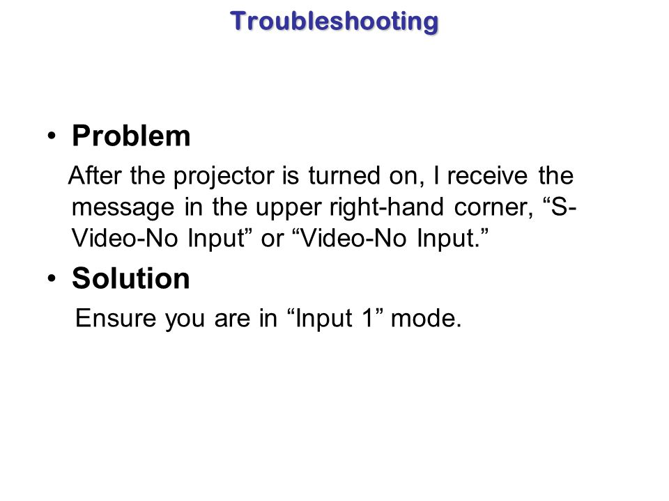 Problem Solution Troubleshooting