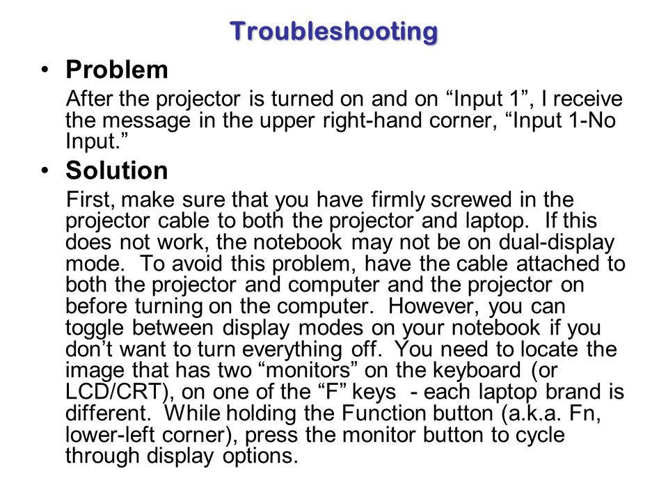 Troubleshooting Problem Solution