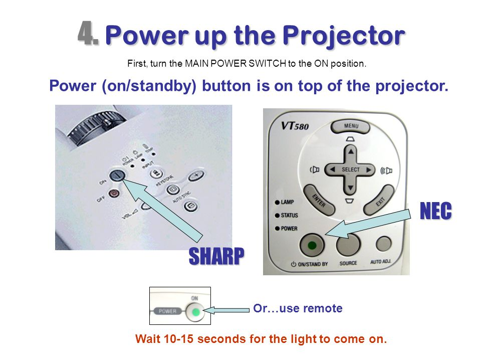 4. Power up the Projector NEC SHARP